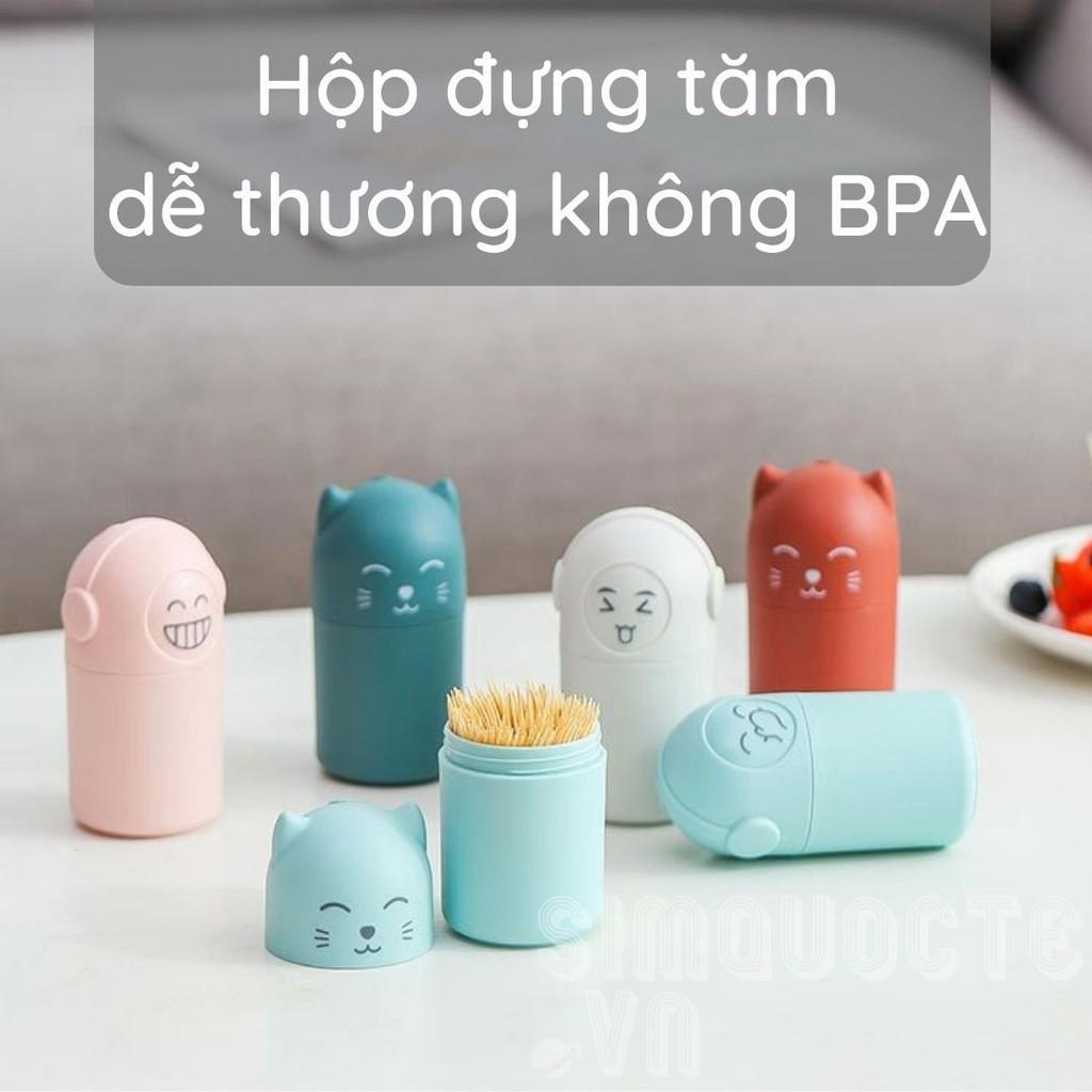 Hộp đựng tăm Lọ đựng tăm hình mèo siêu cute không chứa BPA