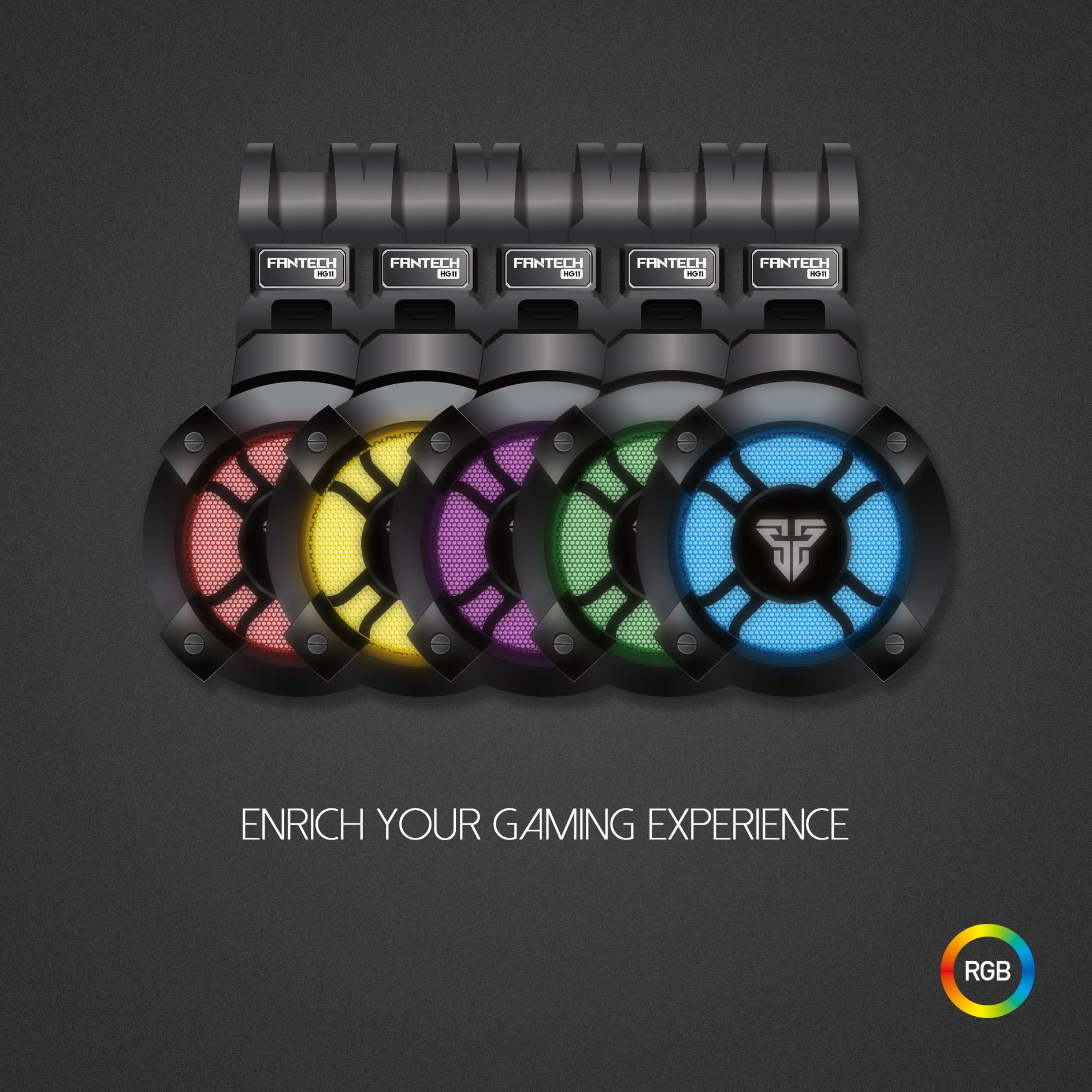 Tai Nghe Chơi Game Nghe Nhạc FANTECH HG11 CAPTAIN 7.1 Có Đèn LED RGB Âm Thanh Vòm 7.1 Kết Nối Qua Cổng USB - Hàng Chính Hãng