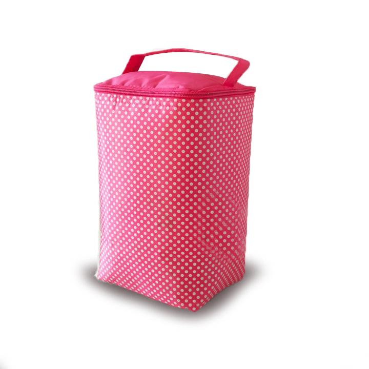 Túi giữ nhiệt kiểu đứng chấm bi mẫu lớn pl  - Hồng