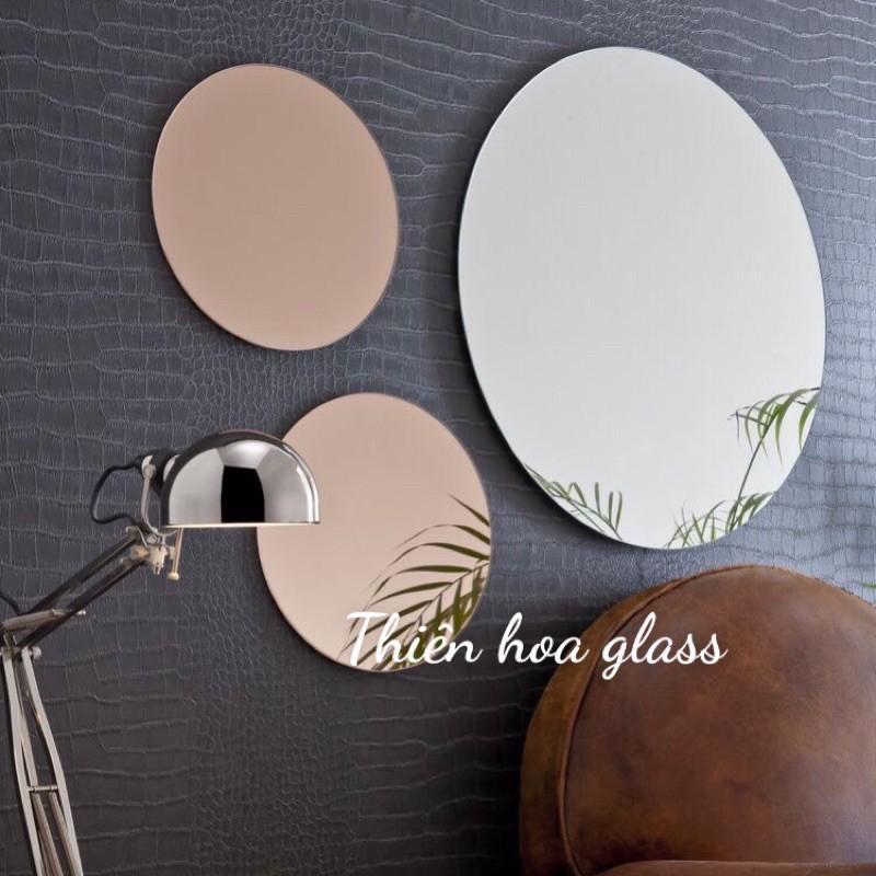 Bộ 7 gương tròn dán tường loại to thuỷ tinh decor trang trí nội thất nhà cửa