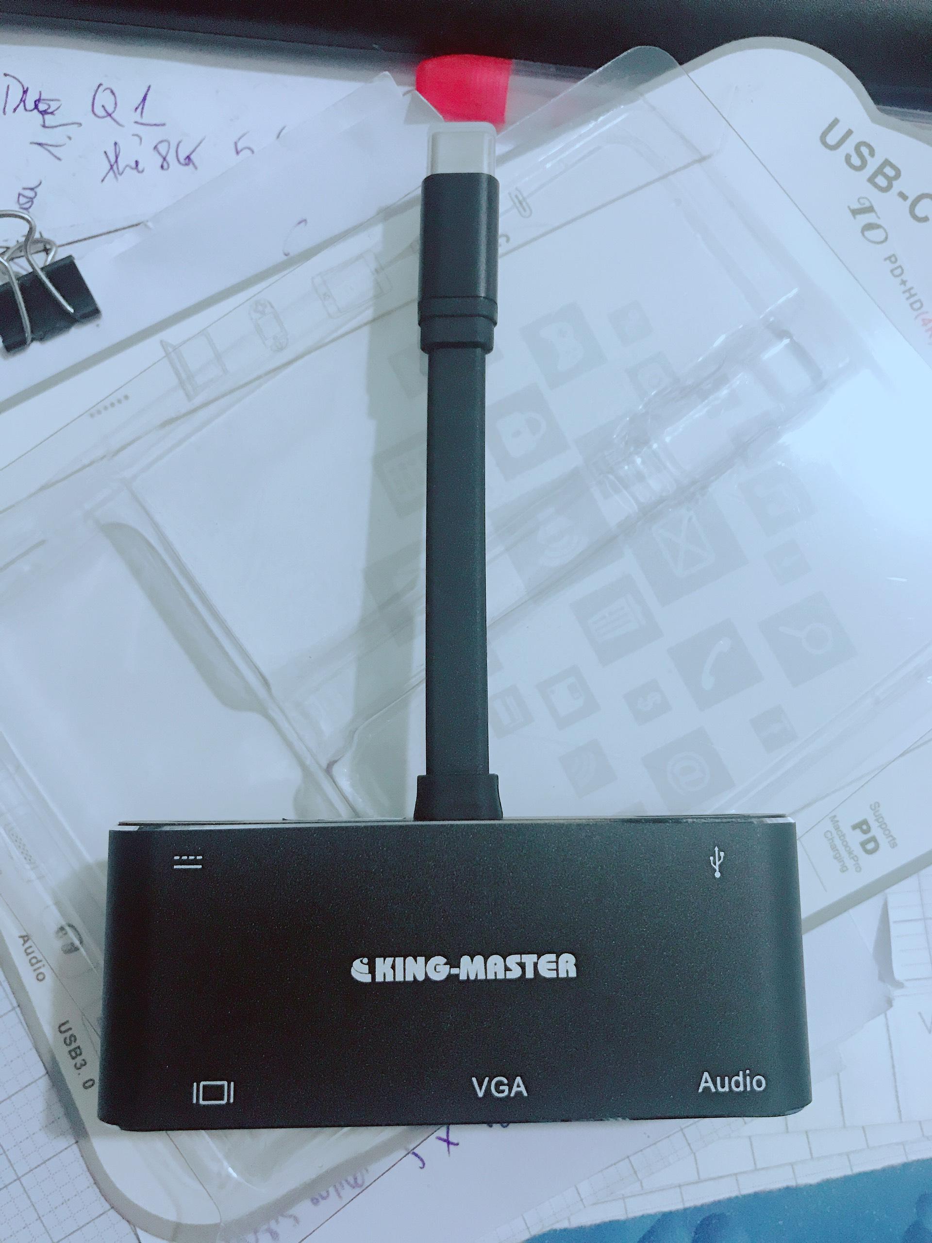 Hub Type-C ra Usb 3.0+Hdmi+Vga+Audio 5 in 1 KingMaster - hàng nhập khẩu