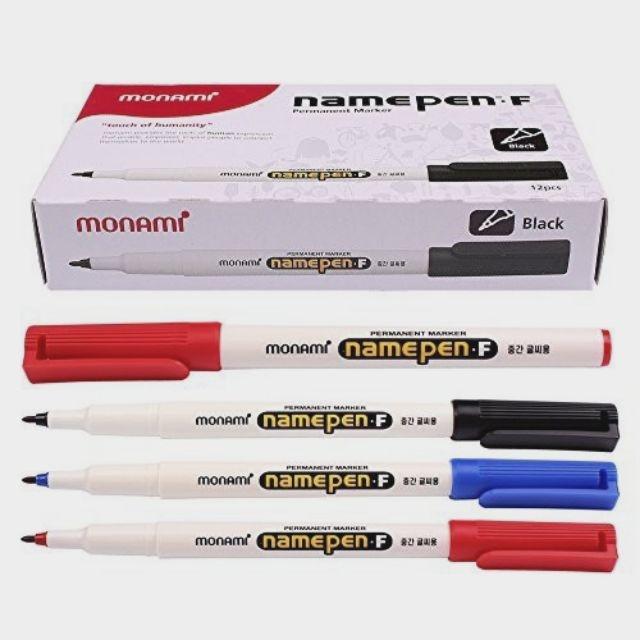 MONAMI- Bút dạ kính monami Namepen-F một đầu ngòi trung (1 Hộp có 12 cây bút )