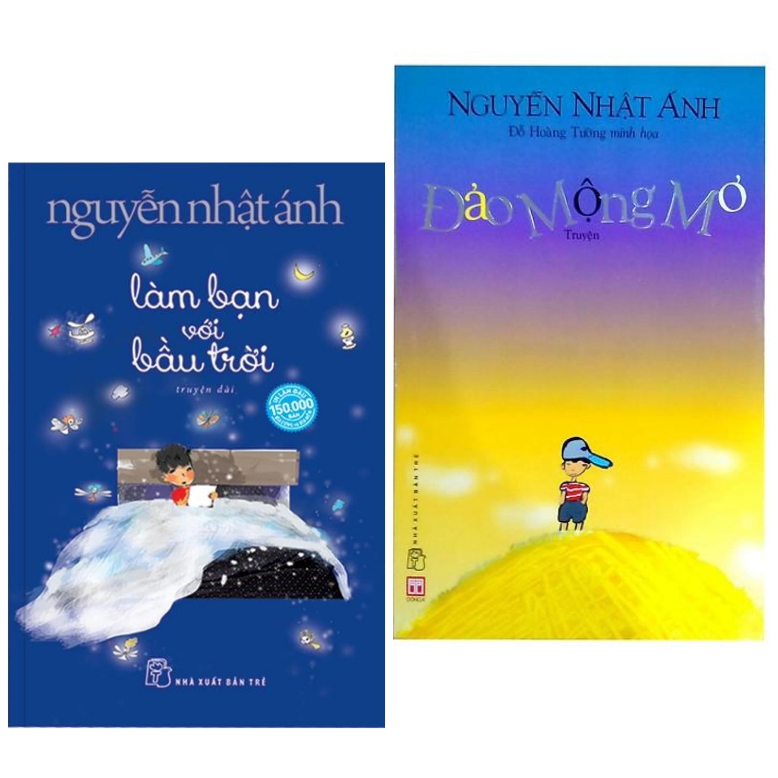 Combo sách Nguyễn Nhật Ánh : Làm bạn với bầu trời + Đảo mộng mơ ( tặng kèm BOOKMARK HAPPY LIFE )