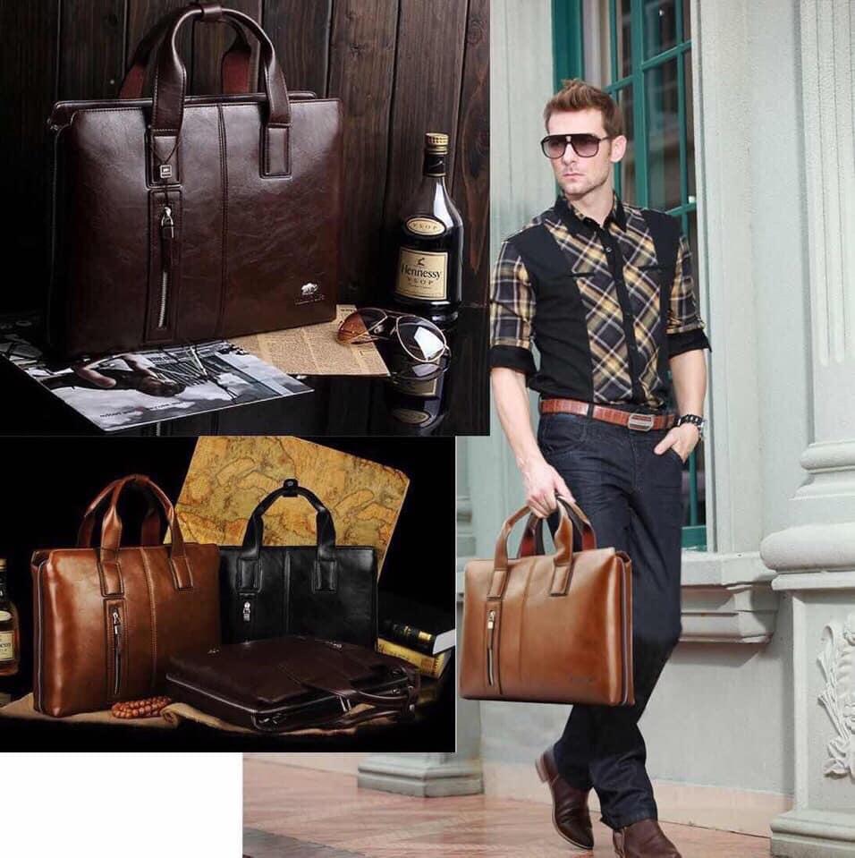 túi xách da công sở đẹp dành cho nam màu vàng bò 8667-3