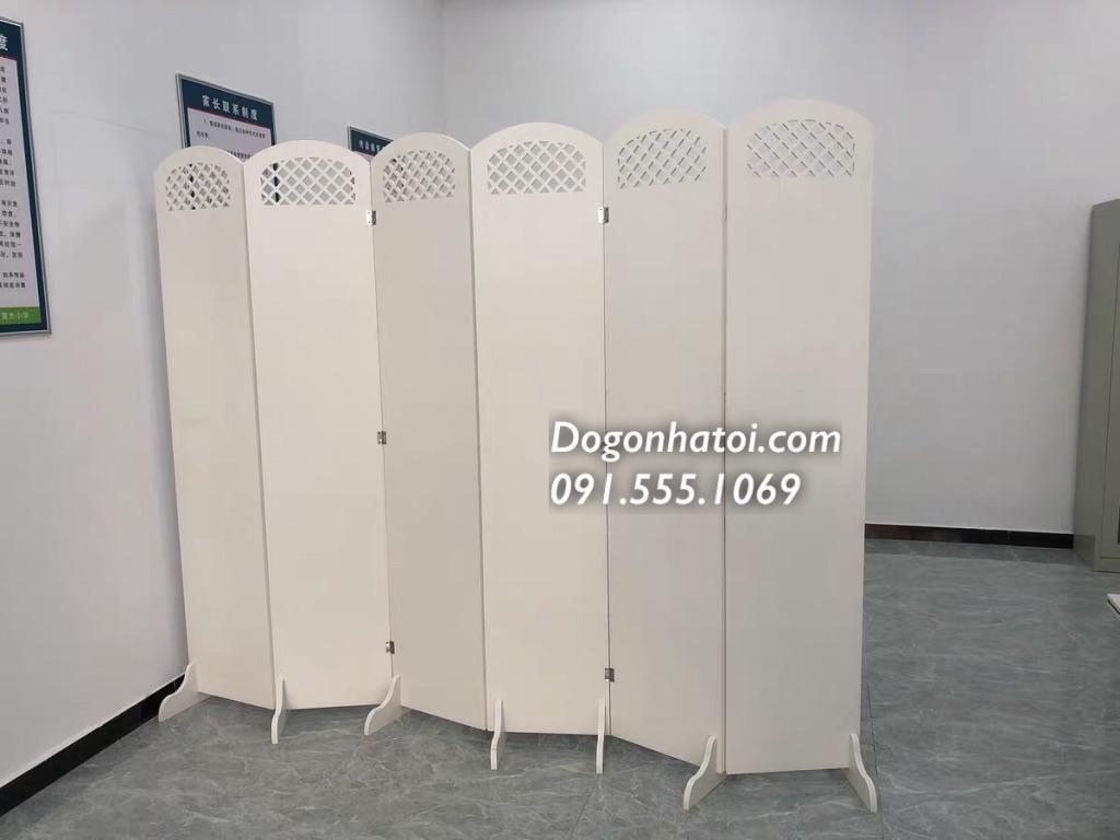 Bộ 4x tấm bình phong vách ngăn phòng mẫu thanh lịch 1m8 x 2m (50cm/cánh); trắng kem