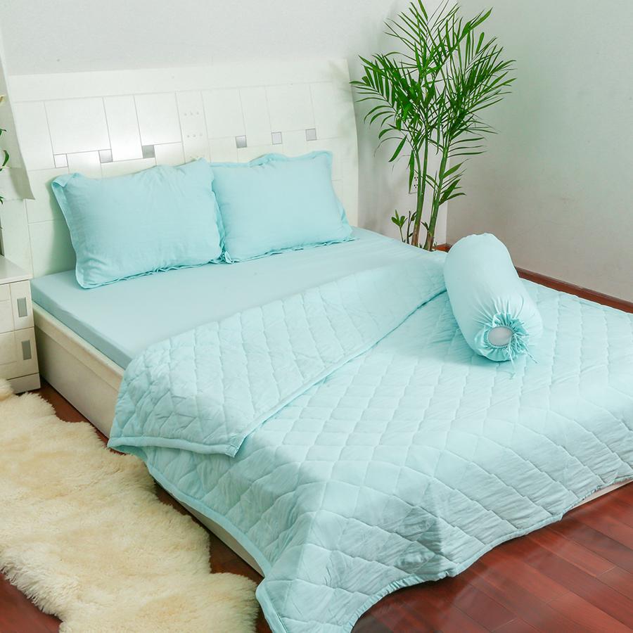 Bộ Drap Và Chăn Chần Cotton Linen Solid DS1009 5 Món - 1m6 x 2m