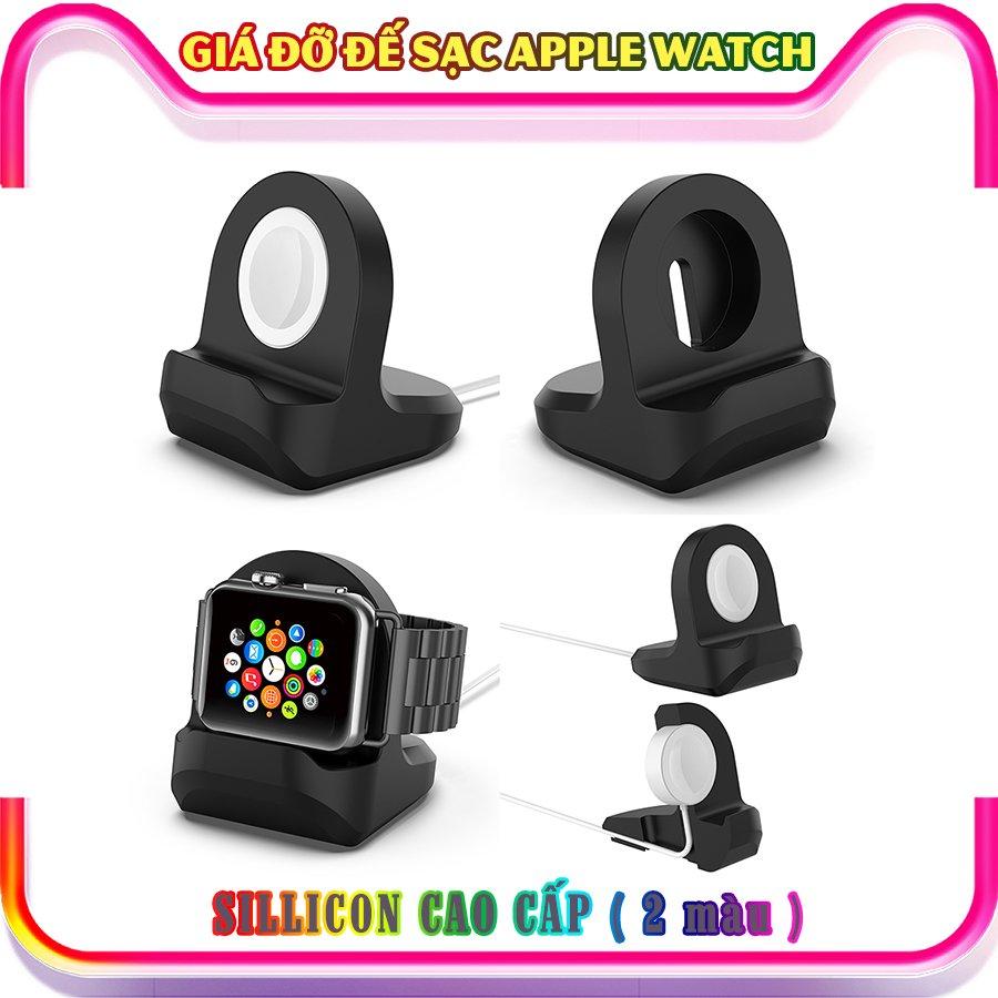 Giá đỡ sillicon dẻo dành cho sạc Apple Watch - đen (không kèm cáp sạc)