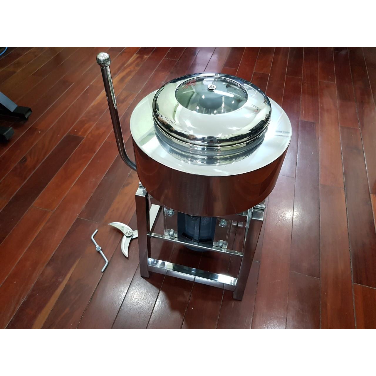 Máy xay thịt làm giò khung hộp inox 1.1kW - nồi 22cm - 2kg/lần có bao đá tản nhiệt