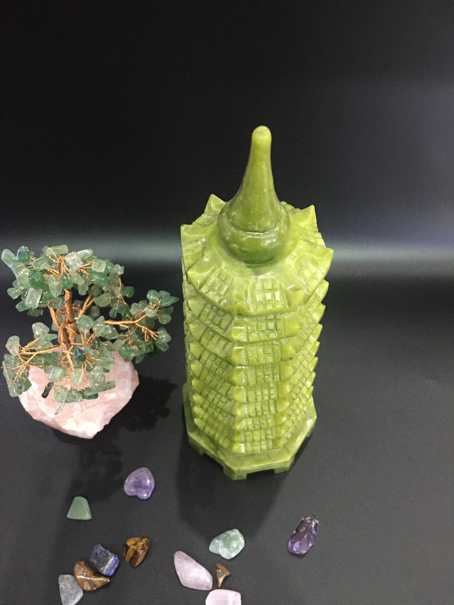 Tháp văn xương đá Serpentine xanh - 30cm - 2,2kg