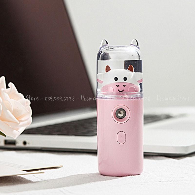 Máy Phun Sương Nano Mini Cầm Tay Bò Sữa 30ml, Hỗ Trợ Xịt Khoáng Cấp Ẩm Tức Thì Sạc USB 4.8,  Nhỏ Gọn, Phun Mạnh, Tặng Kèm Dây Sạc
