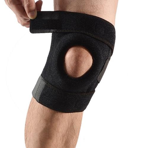 Miếng đệm bảo vệ đầu gối thể thao co giãn có khóa dán, dụng cụ bảo vệ đầu gối