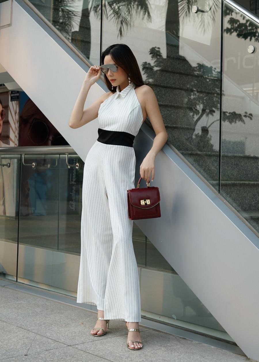 Jumsuit áo liền quần- áo cổ yếm quần ống suông   Tiki.vn