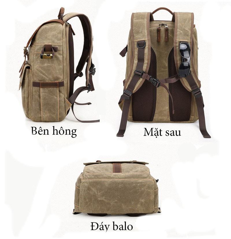 Túi đựng máy ảnh vải canvas Batik K001, Balo máy ảnh vải canvas cao cấp Batik full photo