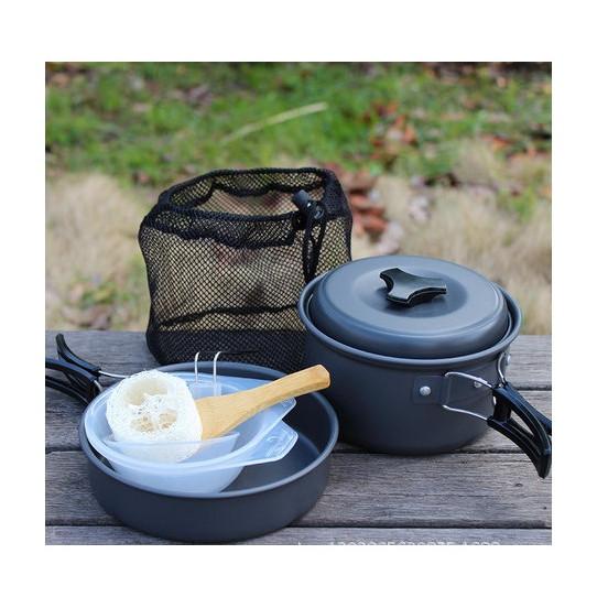 Bộ Nồi nấu nướng dã ngoại cắm trại 1-2 người xếp gọn