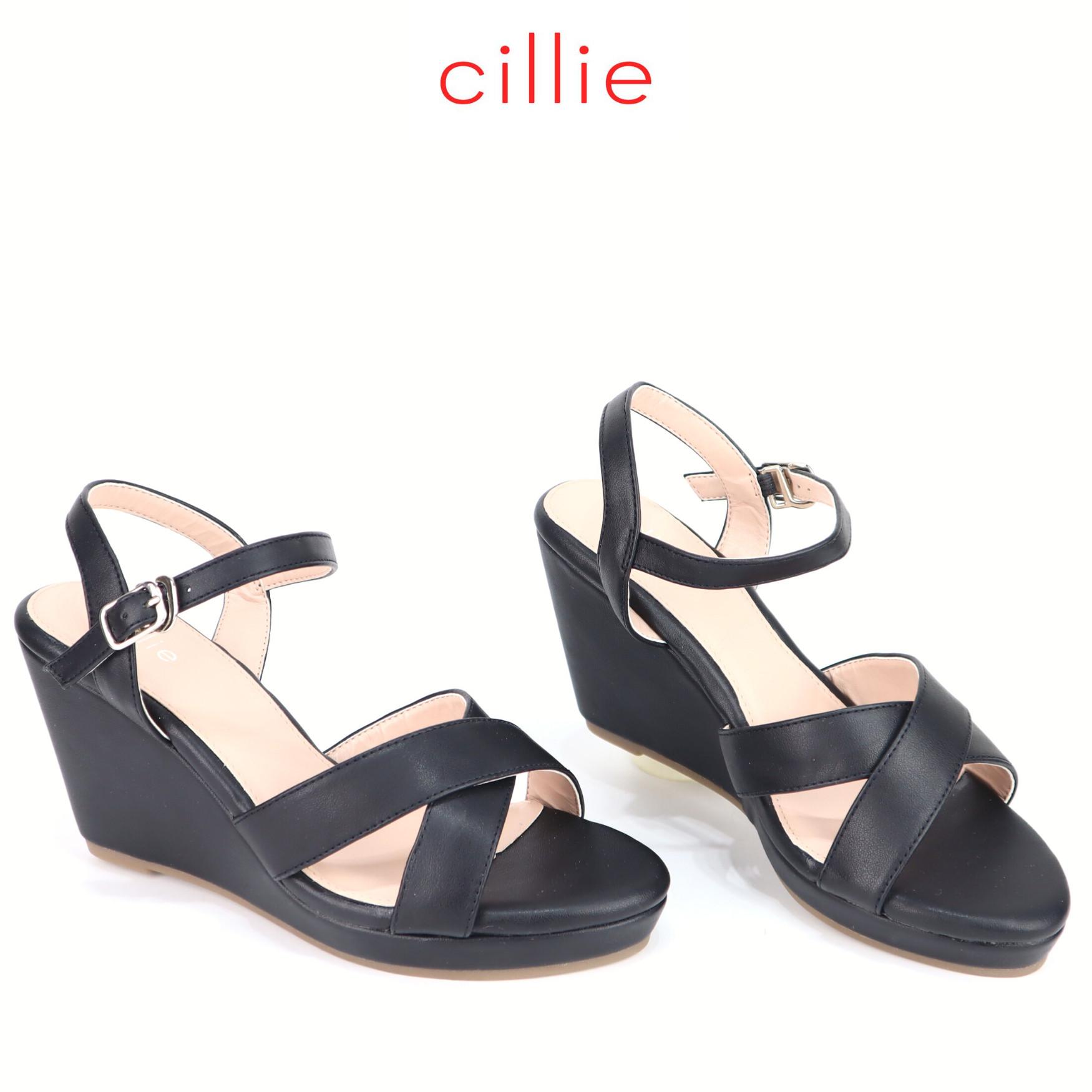 Giày sandal đế xuồng cao 9cm quai chéo Cillie 1197 [FORM BÉ - CHỌN LÊN 1 SIZE]