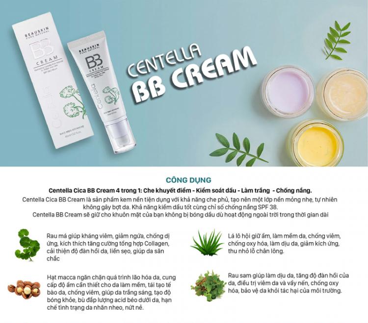 Kem nền cho da dầu kiểm soát dầu che khuyết điểm trắng da chống nắng không gây dị ứng Beauskin Centella CiCa BB Cream, HQ 45ml 4