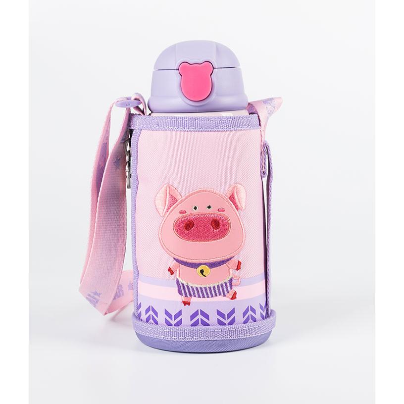 BEDDYBEAR  Bình giữ nhiệt cho bé có túi đeo  dung tích 630ml  inox cao cấp 316  3 nắp thay thế  họa tiết Con Heo-RT104-630-HEO