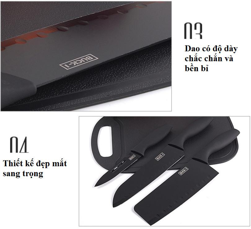 Bộ dao thớt 7 món BUCK-I (Đen)