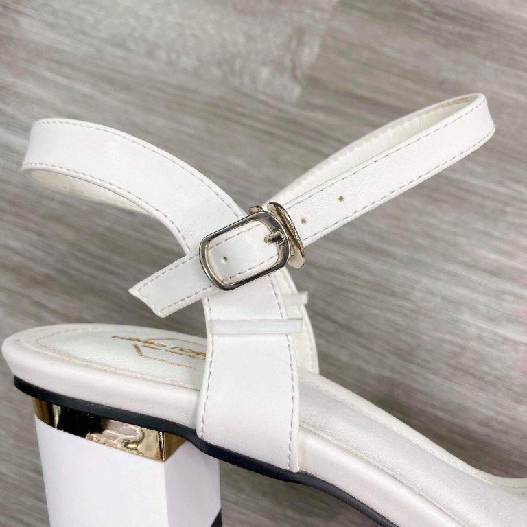 Giày sandal nữ big size trơn gót vuông màu trắng  HIMISTORE