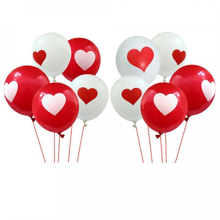 10 bong bóng cao su tròn in trái tim
