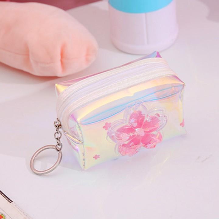 Móc khóa dạng túi hộp tiện lợi bằng nhựa dẻo màu hologram họa tiết hoa đào 3D xinh xắn khóa kéo mượt mà – H040