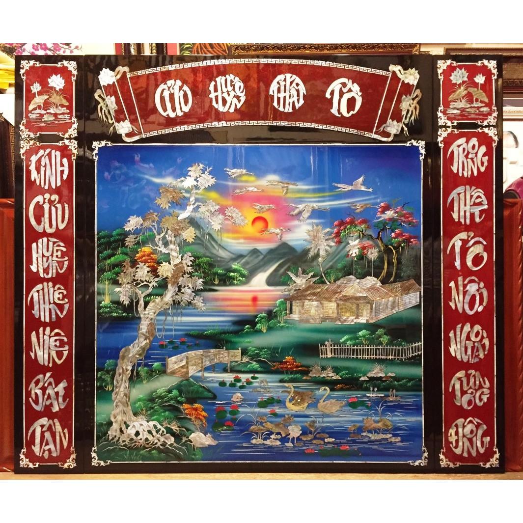 Bộ tranh sơn mài Cửu Huyền Thất Tổ ( Ngang 140cm - Cao 120cm ) - SM279