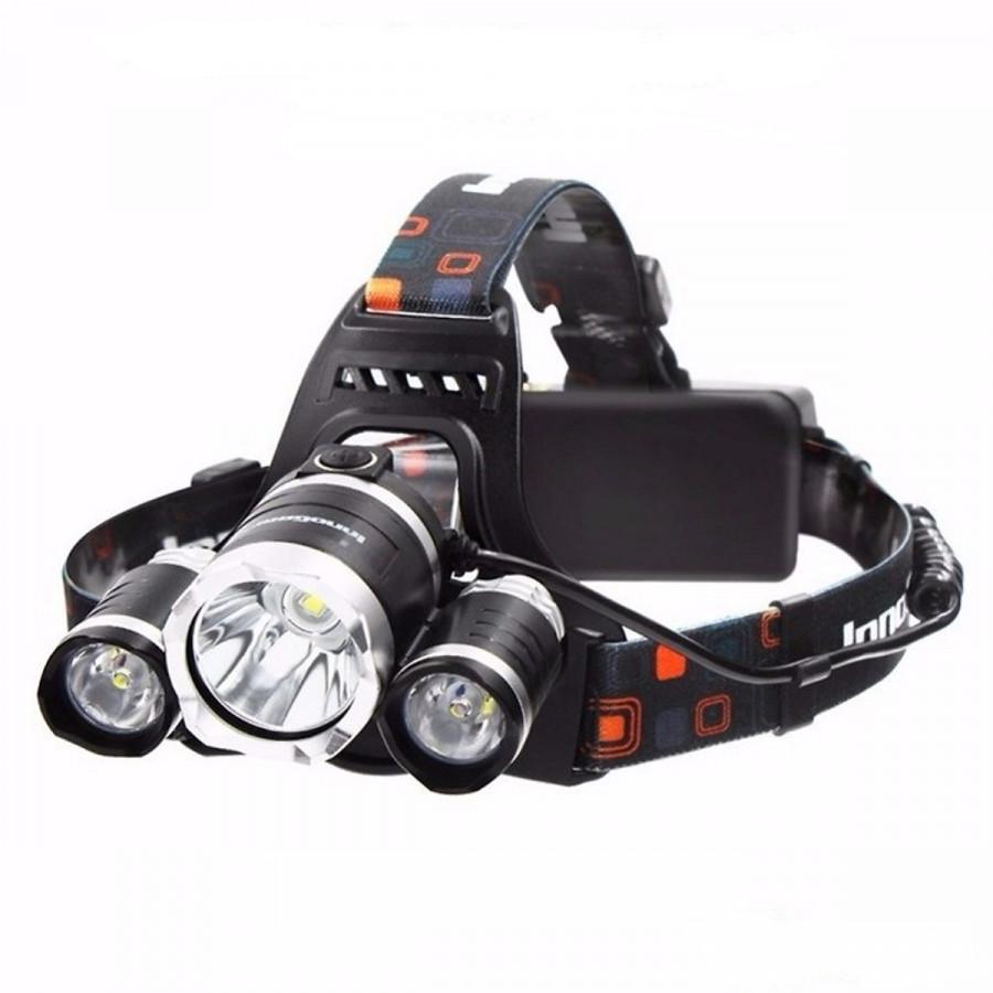 Đèn pin T6 đội đầu có 3 bóng dùng pin sạc