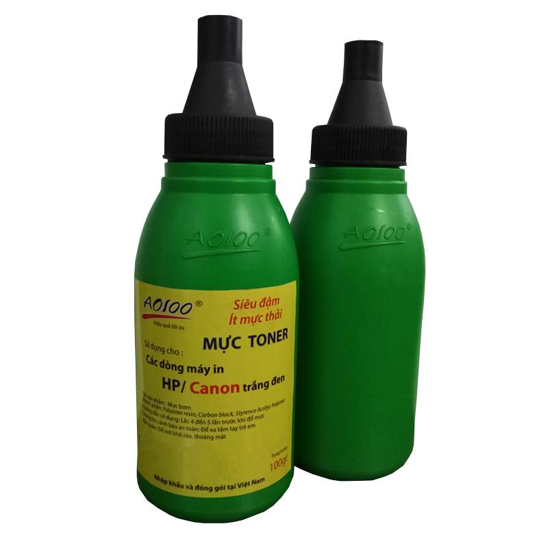 Combo 5 chai mực in,ít mực thải trọng lượng 100gr, laser AO 100 siêu đậm -00100
