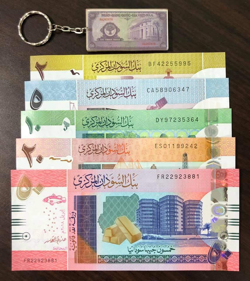 Tiền cổ thế giới, đủ bộ tiền 5 tờ của Sudan sưu tầm (tặng kèm móc khóa hình tiền xưa)
