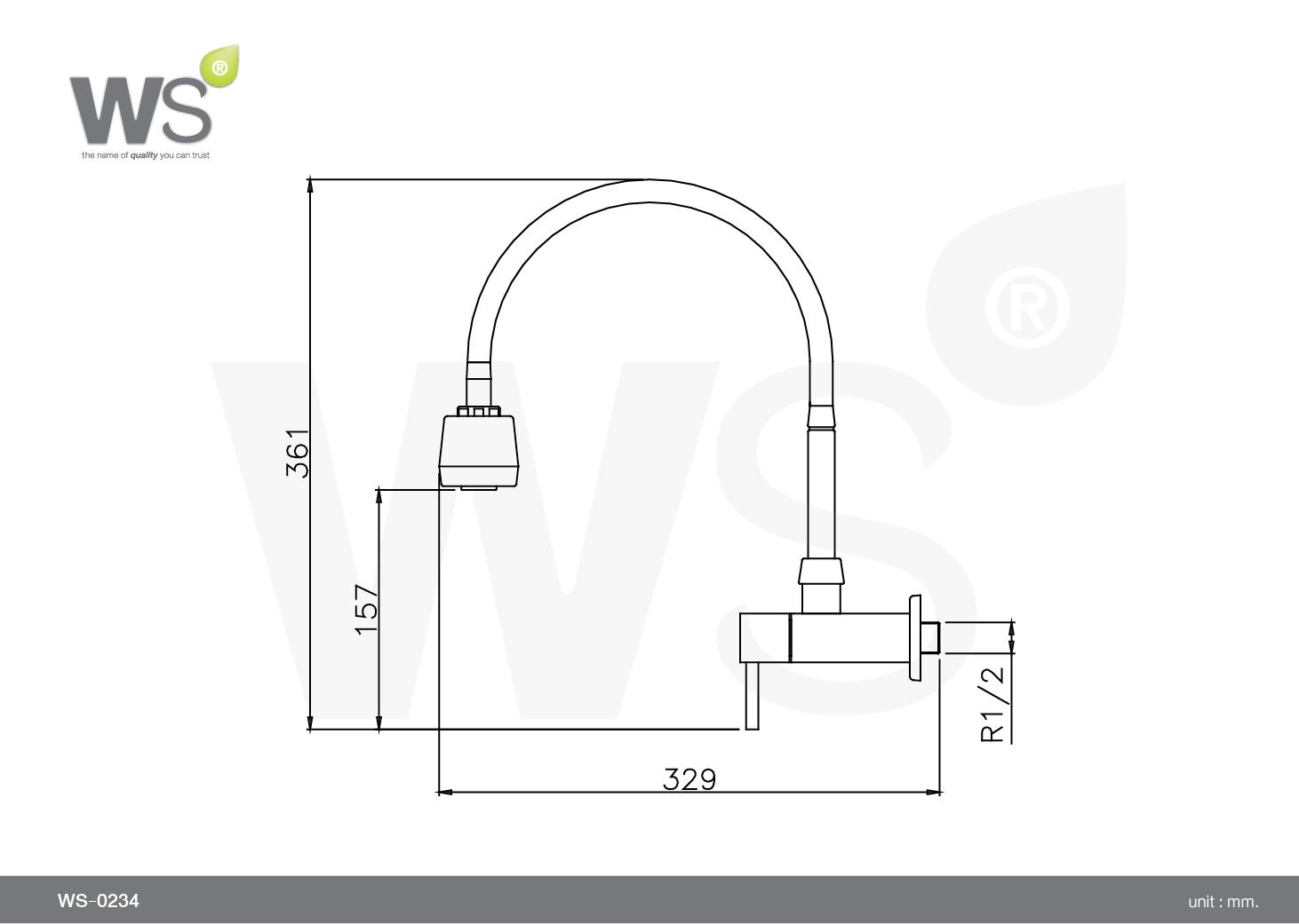 Vòi chậu lạnh gắn tường - WS-0234 - INOX SUS 304