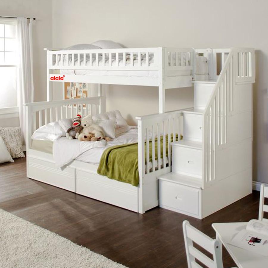Giường Tầng ALALA trên 1m4, dưới 1m6 (màu trắng)- Thương hiệu alala.vn - ALALA101