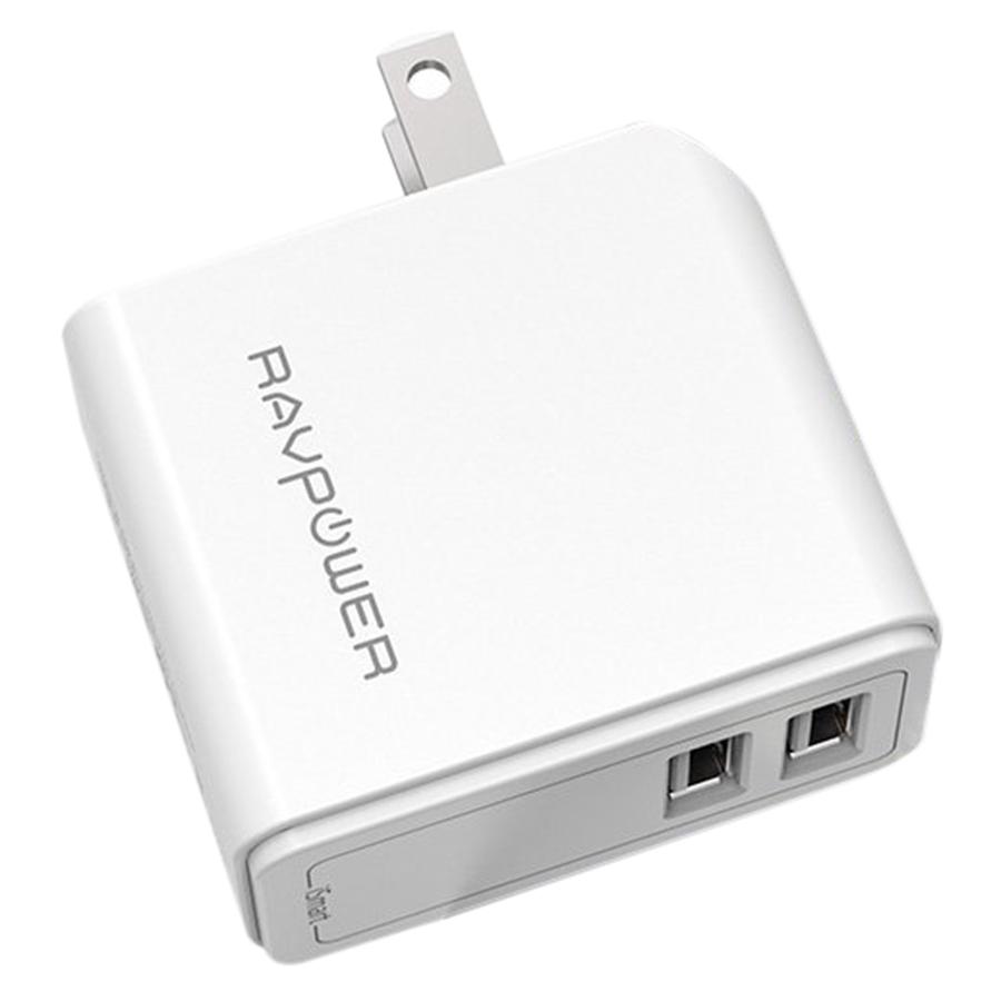 Adapter Sạc RAVPower UC11 2 Cổng USB 24W 4.8A –  Hàng Chính Hãng