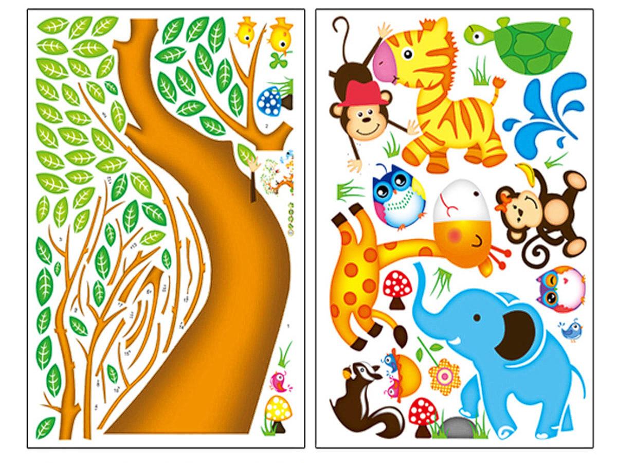 decal dán tường cho bé thú hoạt hình và cây ngộ nghĩnh ay242