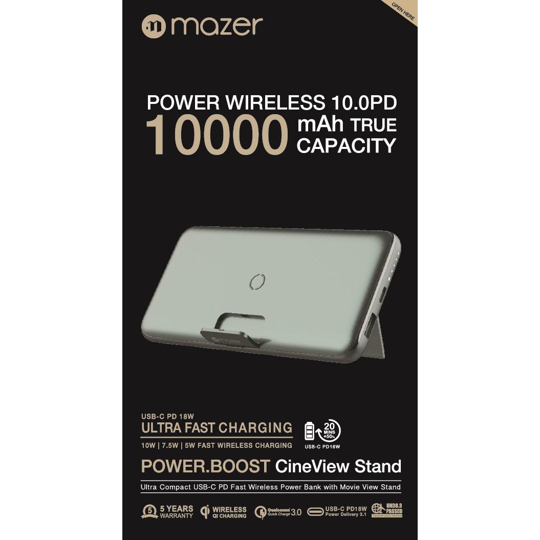 Pin Sạc Không Dây Mazer POWER BOOST AIR STAND 10000mAh (10W/QC3.0/PD18W) - Hàng Chính hãng