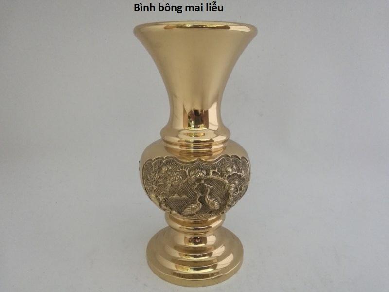 Bình lọ bông miệng xòe cao 29,5cm bằng đồng nặng sắc nét cao