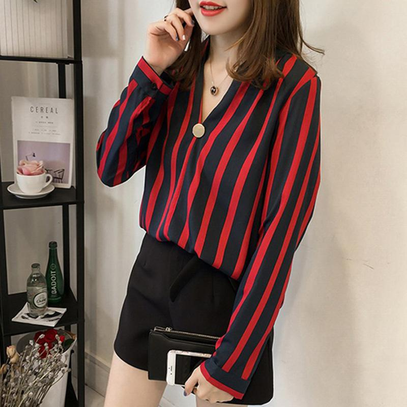 Women Loose V Collar Long Sleeve Stripes Printing Chiffon Shirt Blouse - Red Size XXL - 23630871 , 9150550393013 , 62_20672188 , 280000 , Women-Loose-V-Collar-Long-Sleeve-Stripes-Printing-Chiffon-Shirt-Blouse-Red-Size-XXL-62_20672188 , tiki.vn , Women Loose V Collar Long Sleeve Stripes Printing Chiffon Shirt Blouse - Red Size XXL