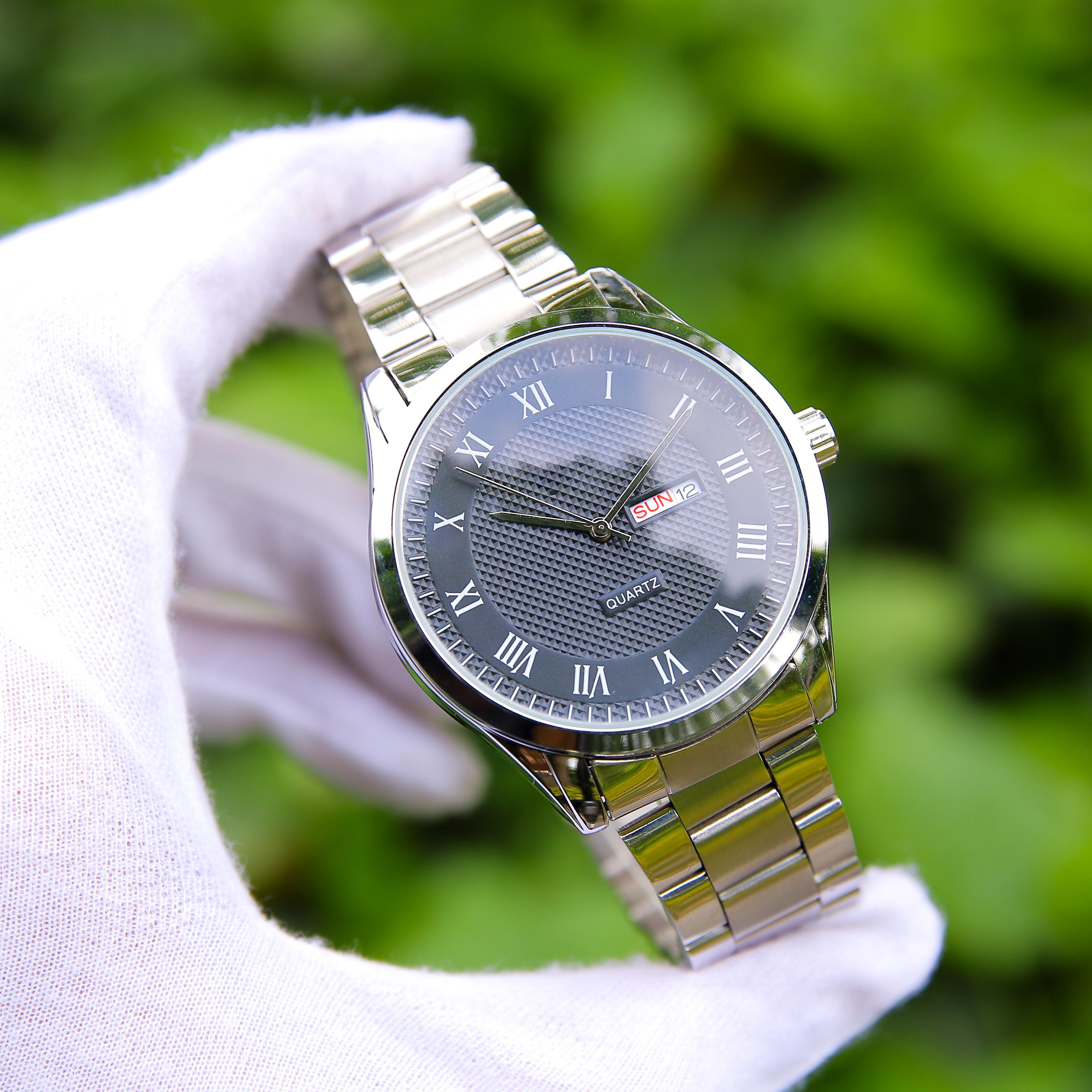 Đồng hồ nam dây thép mặt kính chống xước cao cấp TI003050 phong cách Ý hiển thị 2 lịch ngày tháng – Thiết kế sang trọng – Lịch lãm