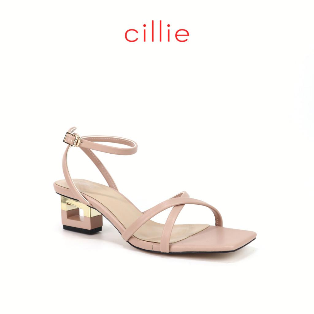 Giày sandal nữ dây chéo mảnh cao 5cm Cillie 1095