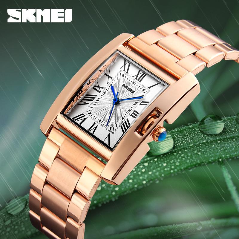 Đồng hồ thời trang nữ dây thép không gỉ viền đá cao cấp Skmei 1284