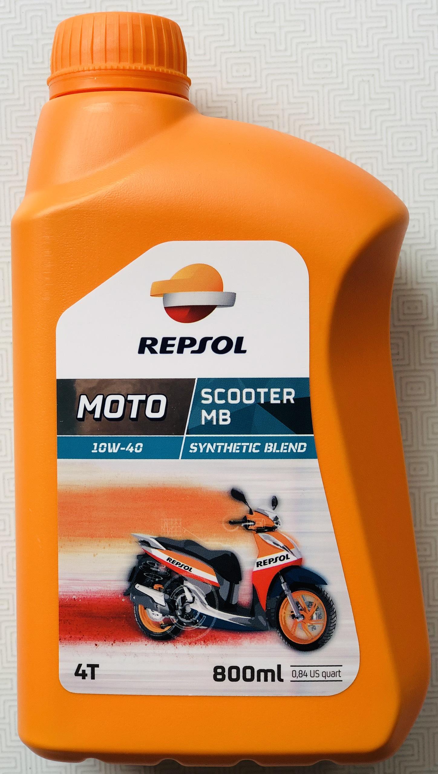 Nhớt xe tay ga cao cấp Repsol Scooter SynThetic 10W40 MB 800ml - Nhập Tây Ban Nha