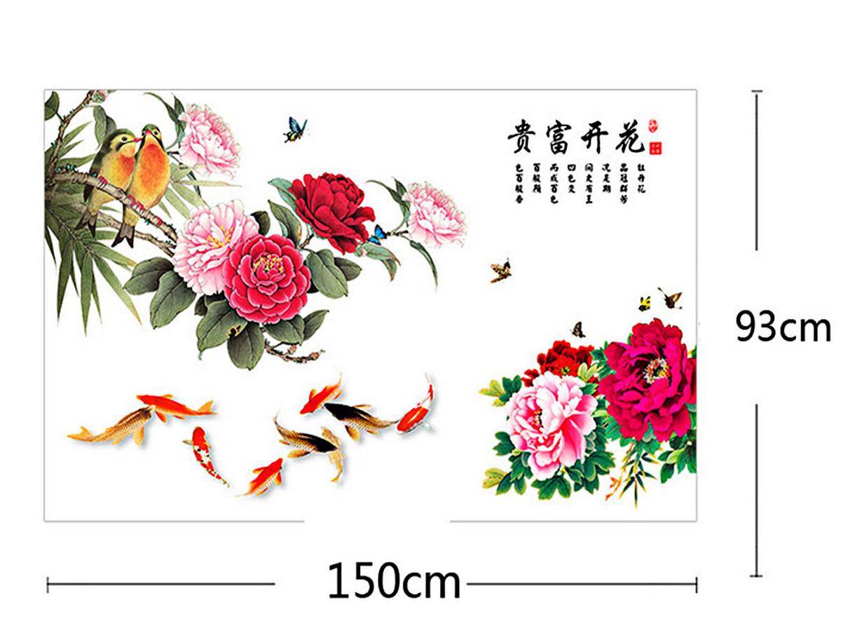 decal dán tường hoa mẫu đơn đỏ chim cá bông to 2 mảnh gs9014