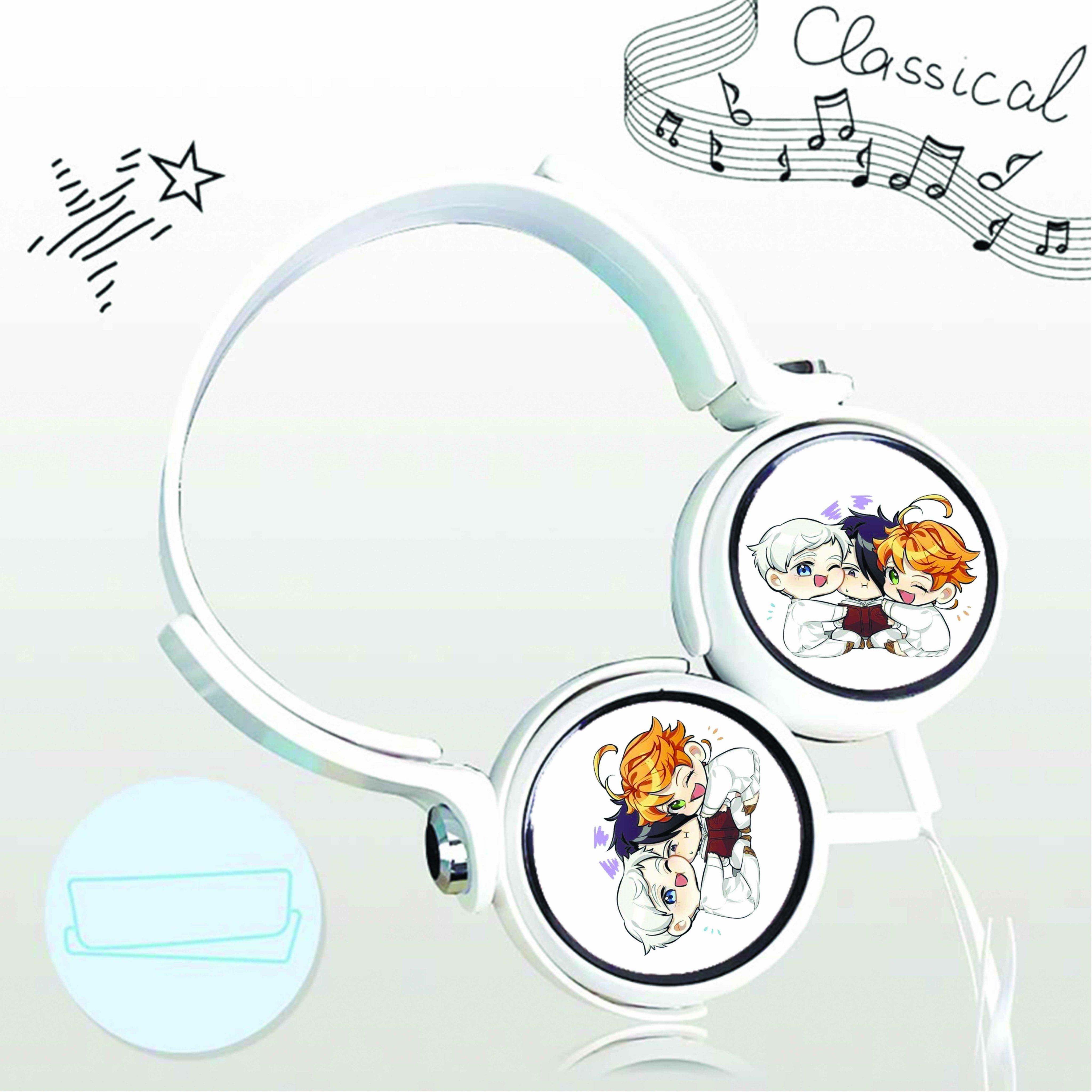 Tai nghe chụp in hình The Promised Neverland - Vùng Đất Hứa anime chibi cắm dây có mic