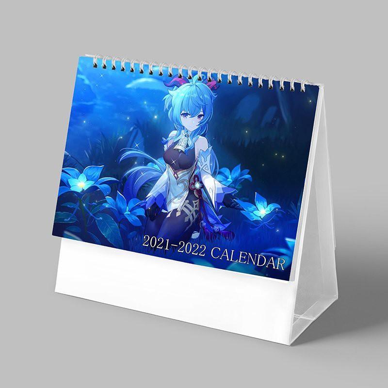 (Lịch 2021-2022) Lịch GANYU game GENSHIN IMPACT in ảnh đẹp anime lịch để bàn