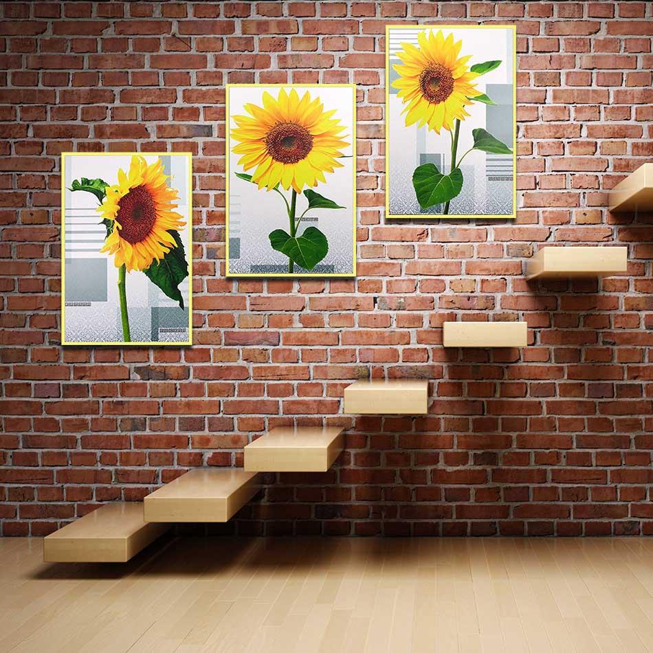 Bộ 3 tranh canvas treo tường Decor hoa hướng dương - DC088