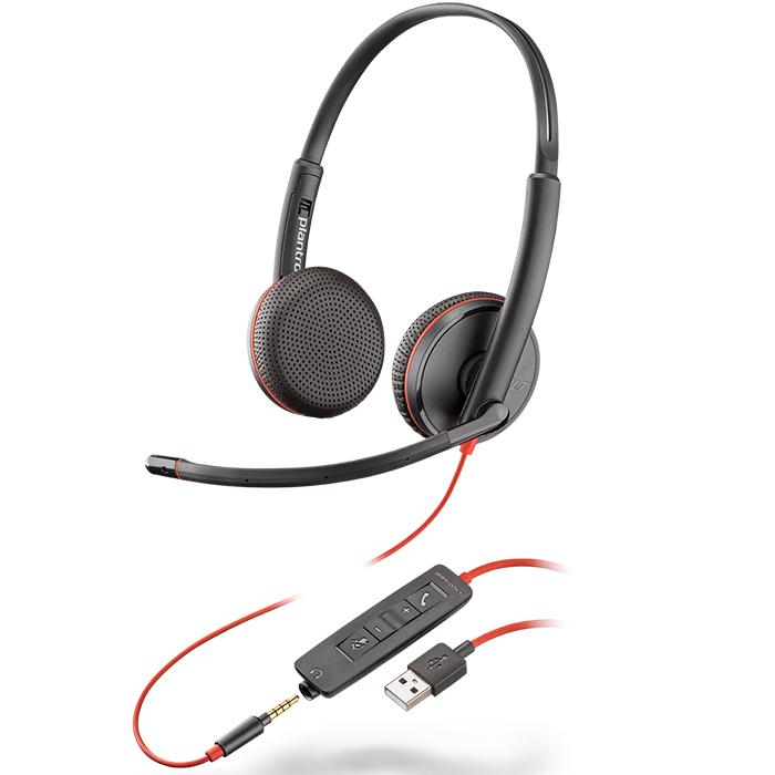 Tai nghe chụp tai có dây tích hợp Mico khử tiếng ồn Plantronics Blackwire C3225 USB-A - Hàng chính hãng