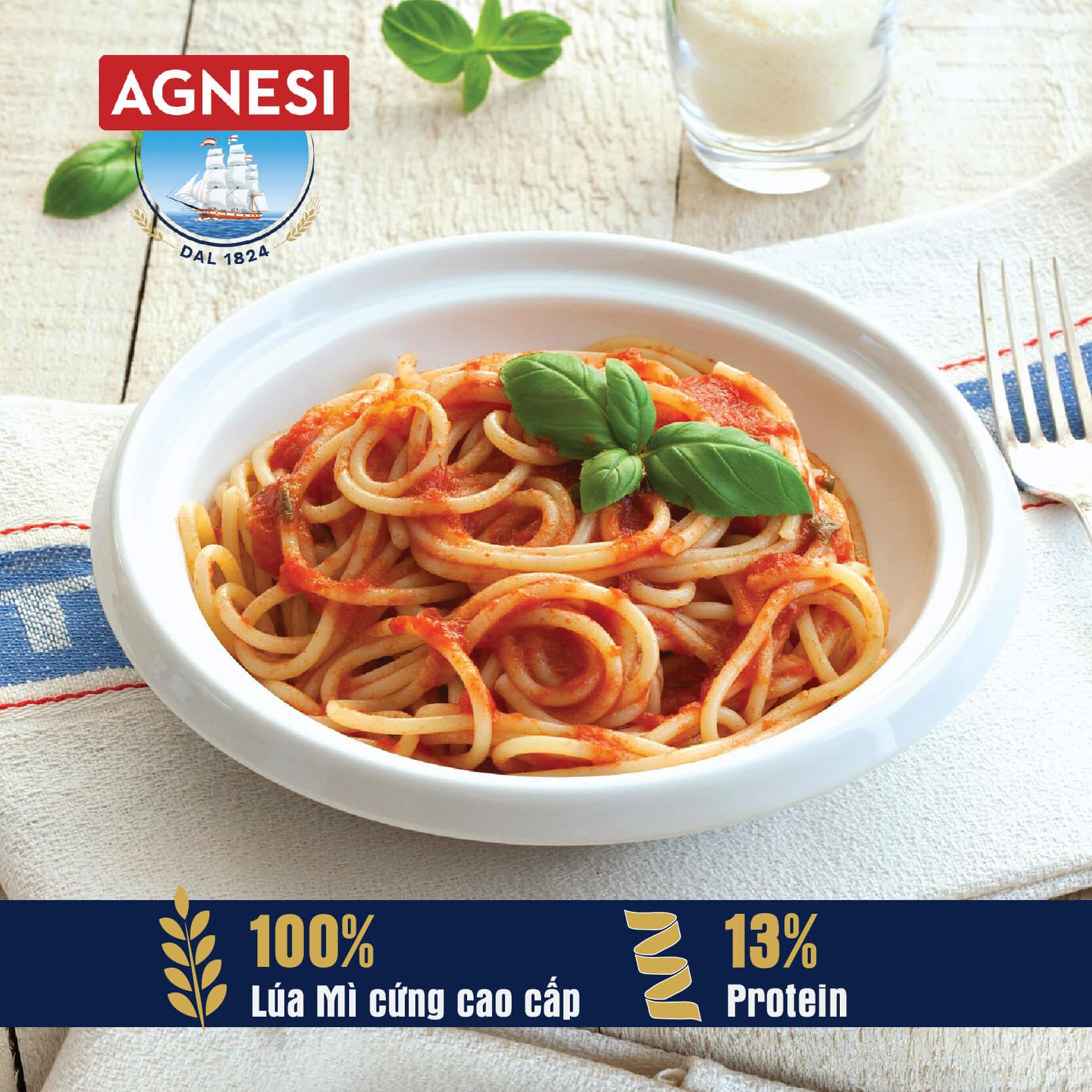 Mì Ý Linguine N.10 Agnesi 500g, cọng dẹt làm từ lúa mì cứng cao cấp Semolina, luộc 10 phút, nhập khẩu Ý