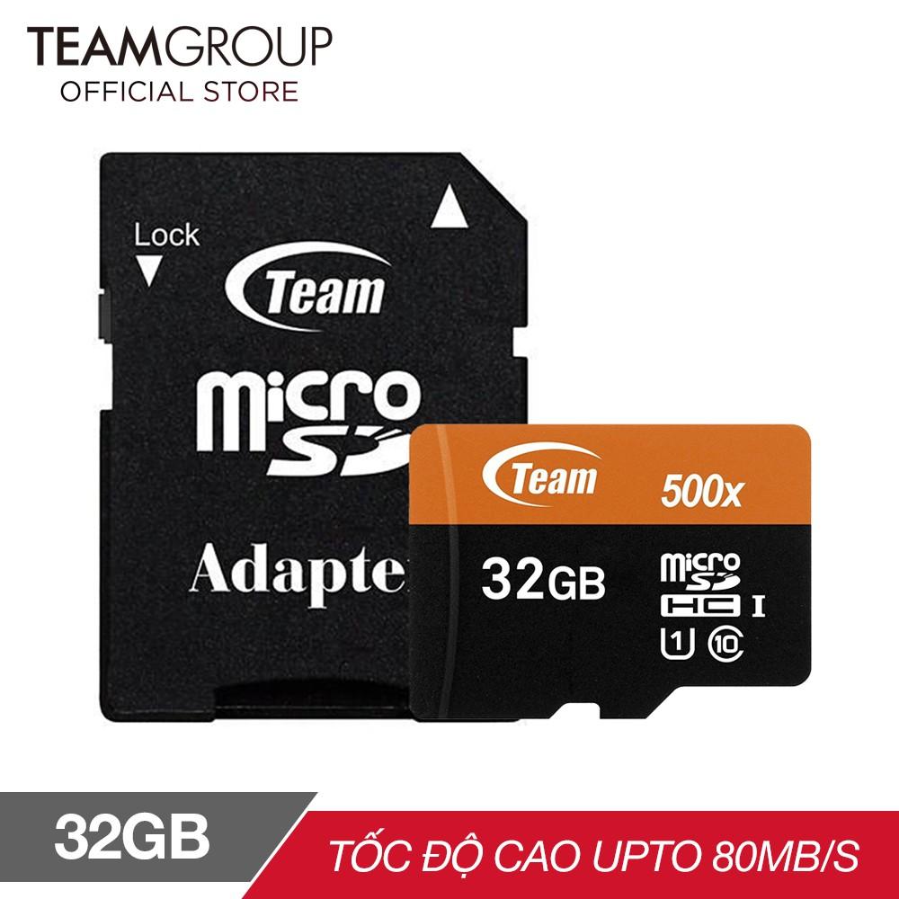 Thẻ Nhớ 32GB Micro SDHC Team 500x Class 10 U1-80MB/s (Đen Cam) - Hàng Chính Hãng + Tặng đầu đọc thẻ micro 2.0 (mẫu ngẫu nhiên)