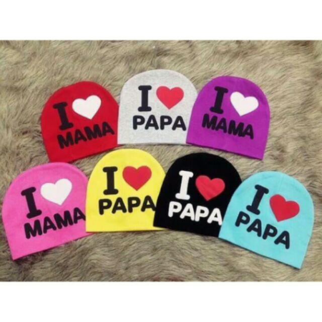 Mũ cotton i love papa và mama