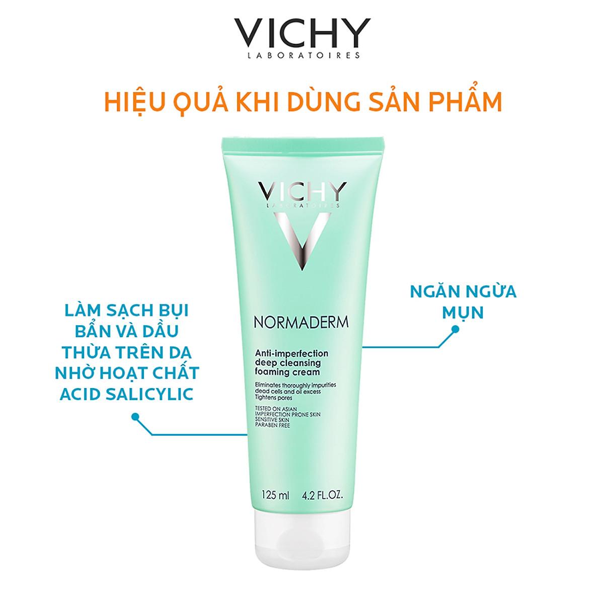 Sữa Rửa Mặt Tạo Bọt Ngăn Ngừa Mụn Và Se Khít Lỗ Chân Lông VICHY Normaderm Anti-perfection Deep Cleansing Foaming Cream (125ml) - TẶNG MÓC KHÓA