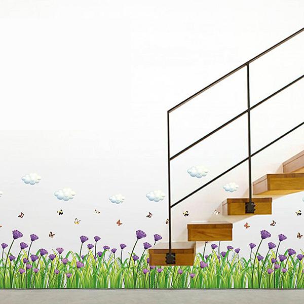 Decal Dán Chân Tường Hoa Cúc Tím - 2 Bộ (40 x 270 cm)